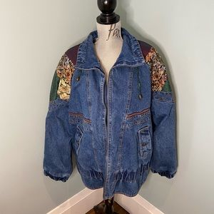 Amazing Vintage Jean Jacket with Embroidery, L